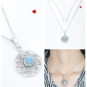 Blue Moonstone 925 Silver Pendant Necklace Crystal